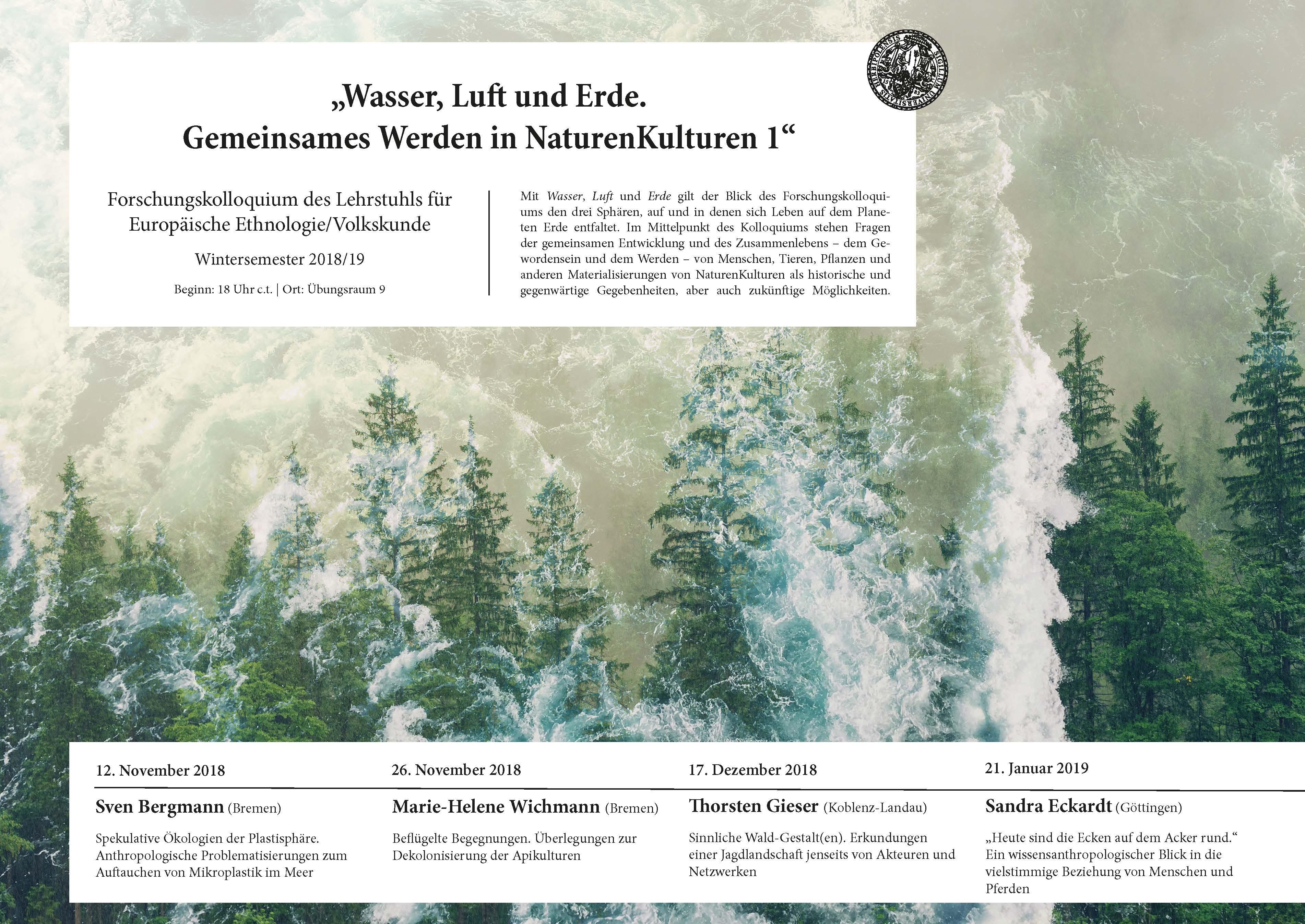 Vortragsankündigung 2018 Würzburg Sinnliche Waldgestalt(en)